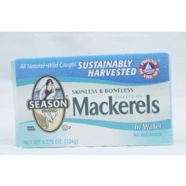 Season Mackerel in Water Skinless and Boneless Fillet 124g