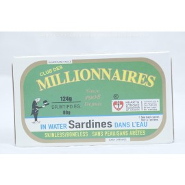 Millionaires Sardines in Water Skinless and Boneless 124g