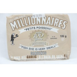 Millionaires Sardines in Soya Oil /Garlic Sligthly Smoked 106g