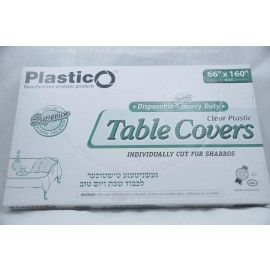 Plastico Table Covers; Clear Plastic  66x160 10ct; Heavy Duty; Disposable