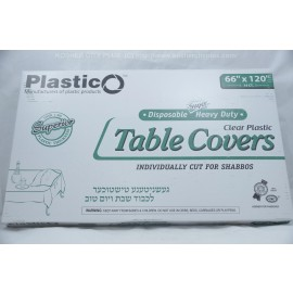 Plastico Table Covers; Clear Plastic  66x120 14ct; Heavy Duty; Disposable