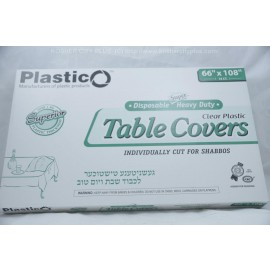 Plastico Table Covers; Clear Plastic  66x108 16ct; Heavy Duty; Disposable