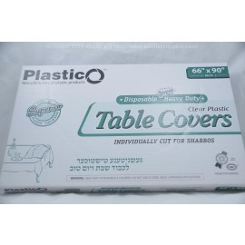 Plastico Table Covers; Clear Plastic  66x90 20ct; Heavy Duty; Disposable