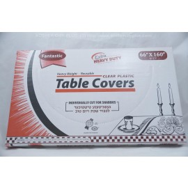 Fantastic Table Covers; Clear Plastic; 66x160 10ct Extra Heavy Duty; Reusable