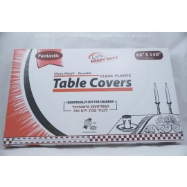 Fantastic Table Covers; Clear Plastic; 66x140 10ctExtra Heavy Duty; Reusable
