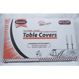 Fantastic Table Covers; Clear Plastic; 66x120 12ct Extra Heavy Duty; Reusable