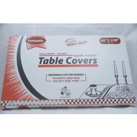 Fantastic Table Covers; Clear Plastic; 66x108 13ct Extra Heavy Duty; Reusable