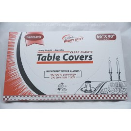 Fantastic Table Covers; Clear Plastic; 66x90 16ct Extra Heavy Duty; Reusable