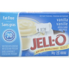 Jell-o Fat Free Vanilla Instant Pudding Sweetened with Aspartame  30g