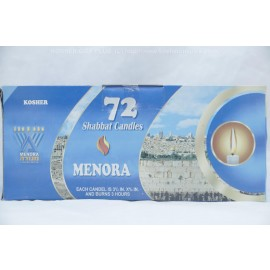 Menora 72 Shabbat Candles Burns 3 Hours