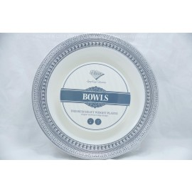 "Decor Bowls 7.5"" 10cts Elegant Embossed Edge design Silver"