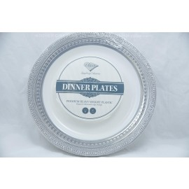 "Decor Dinner Plates 9"" 10cts Elegant Embossed Edge design Silver"