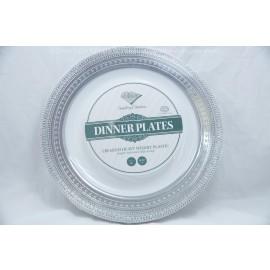 "Decor Dinner Plates 10.25"" 10cts Elegant Embossed Edge design Silver"