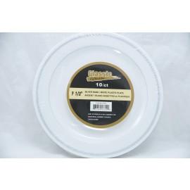 """Classic 7.5"""" Silver/White Plastic Plate 10ct"""