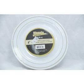 "Classic 6"" Gold/White Plastic Plate 10ct"