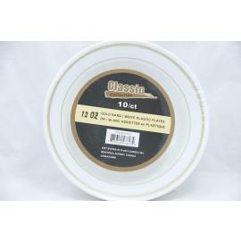 Classic 12OZ Bowl Gold/White Plastic Plate 10ct