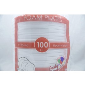 "Party Dimensions 9"" Round Heavyweight Foam Plates 100 pcs"