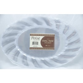 "Poise Clear Plastic Oval Tray 15.5"" 10ct"