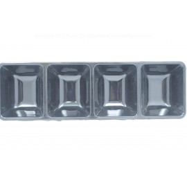 """Dining Collection Black Rectangular Compartment Platter - 4 Section 16""""x5"""""""