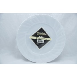 "Premium Collection 9"" White Plastic Plates 18ct"