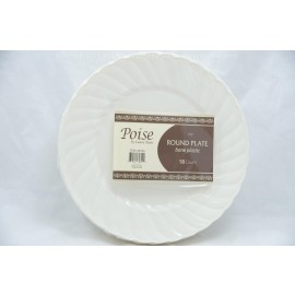 "Poise 7.5"" Round Plate Bone 18ct"