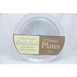 "Embellish Clear Dinner Plates 9"" 20ct"