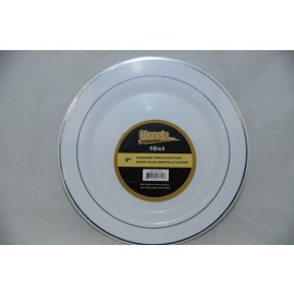 "Classic Collection 9"" Silver White Plastic Plate 10/cts"