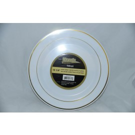 "Classic Collection 10.25"" Gold Band/ White Plastic Plates 10cts"