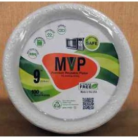 "MVP 9"" Plates White Microwave Safe 100cts"